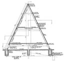Free A Frame House Plans frame blueprint of cross section a frame house footing