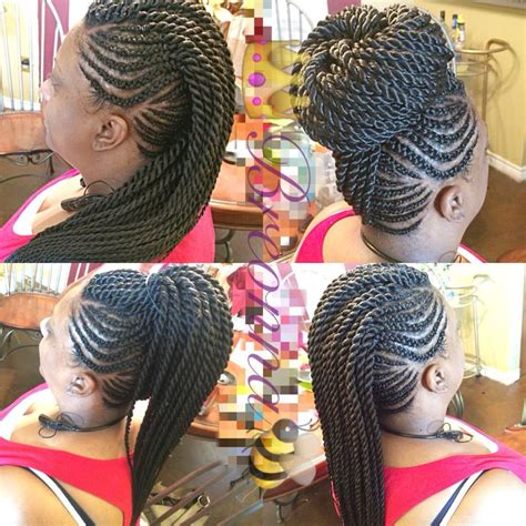 braided mohawk with senegalese twist needle point braids ghana braids mohawk with senegalese