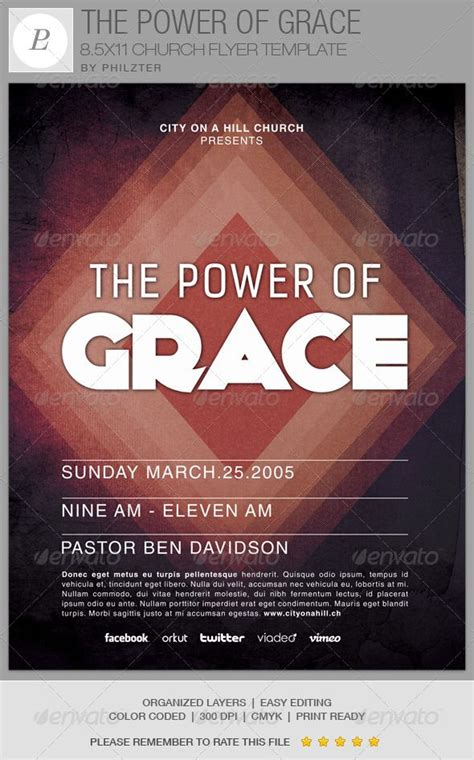 free church templates for flyers the power of grace church flyer template youth colors