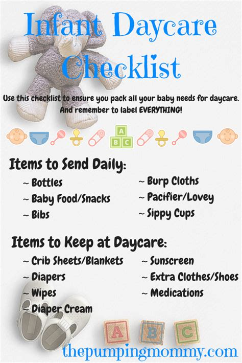 what to bring to room infant daycare checklist what to pack and label the