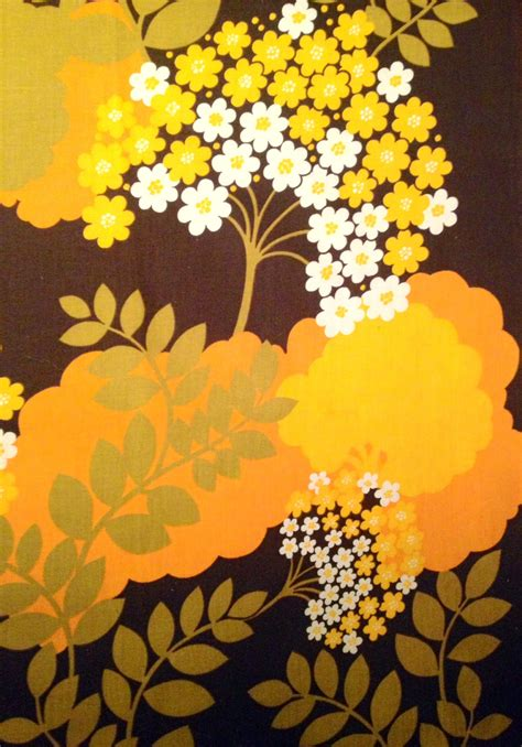 pattern fabric retro amazing vintage swedish retro fabric from the 70s orange and