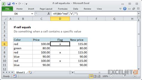 excel if function color excel formula if cell equals exceljet