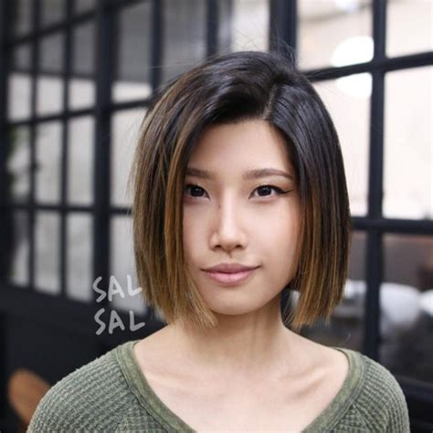 blunt end bob with subtle layers women s sleek cut with subtle layers and brunette balayage
