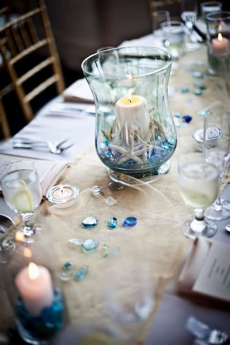 beach theme table decorations   Beach Themed Wedding Table