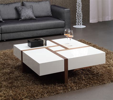 Modrest Makai Modern White Walnut Square Coffee Table Walnut And White Coffee Table