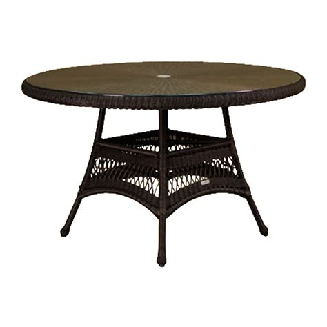 48 patio table shop tortuga outdoor 48 in w x 48 in l wicker dining table at lowes