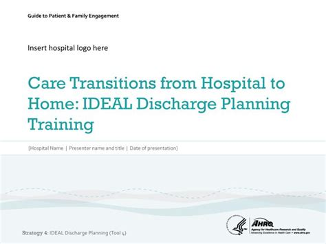 discharge planning from hospital to home ppt insert hospital logo here care transitions from