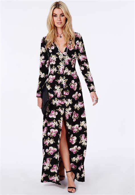 Baju Dress Maxi Flower Black v neck front split maxi dress black floral dresses