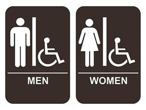 Bathroom Signs And S S Handicap Restroom Sign Set Ada Compliant