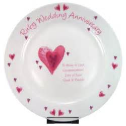 40th wedding anniversary gifts ruby 40th wedding anniversary personalised plate unique