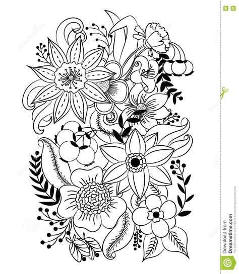 black and white coloring pages of flowers coloring page with flowers and leaves stock vector image