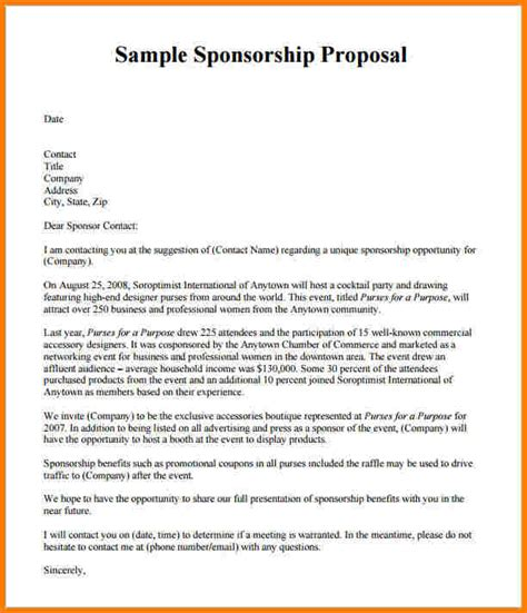 Sle Letter For Liquor Sponsorship 4 Sponsorship Exle Template 2017