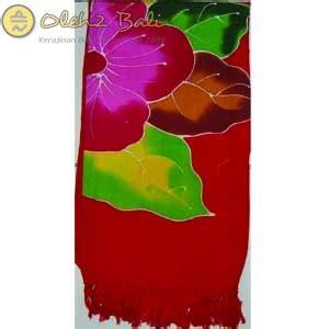 Kemeja Pantai Bali Merah kain pantai lukis bunga merah kw1