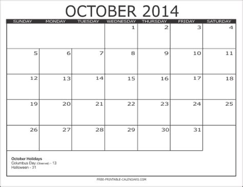 printable monthly calendar october 2014 2014 free printable calendars free printable calendars