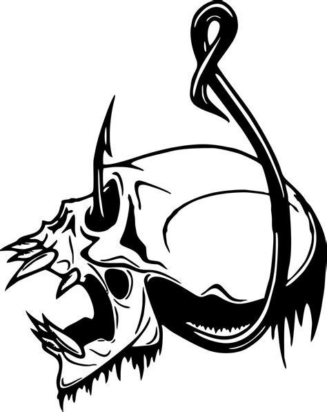 boat car decals skull fish hook fishing bone boat car truck window vinyl