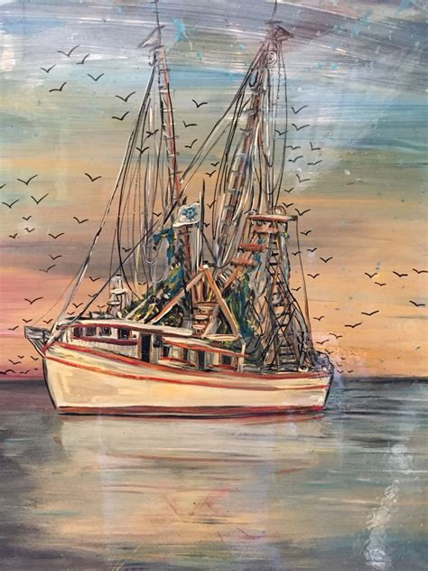 the shrimp boat shrimp boat painting on an old window by janet moses