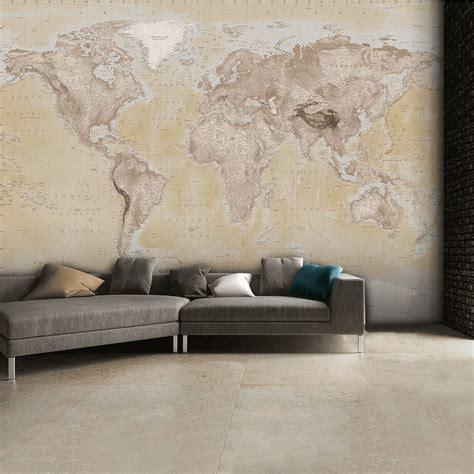1 wall mural 1 wall neutral world map atlas wallpaper mural wall 315cm x 232cm