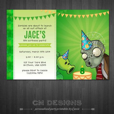 pvz card template plants vs zombies birthday invitation by designsbycassiecm