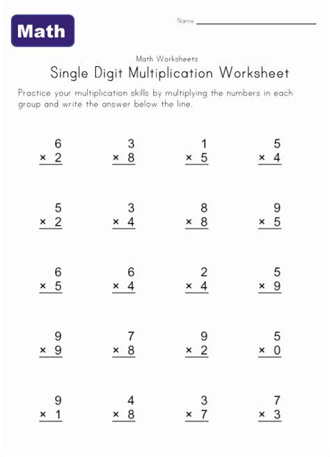 Simple Multiplication Worksheets by Single Digit Multiplication Worksheets Learning Station