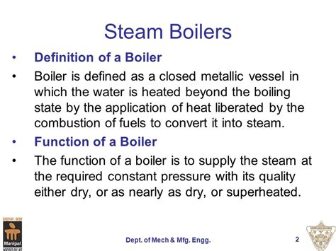 Definition Of A by Boilers Dept Of Mech Mfg Engg Ppt