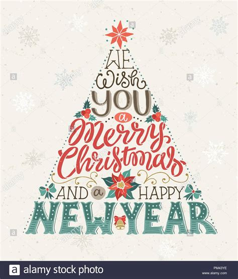 hand drawn christmas tree lettering     merry christmas   happy  year greeting