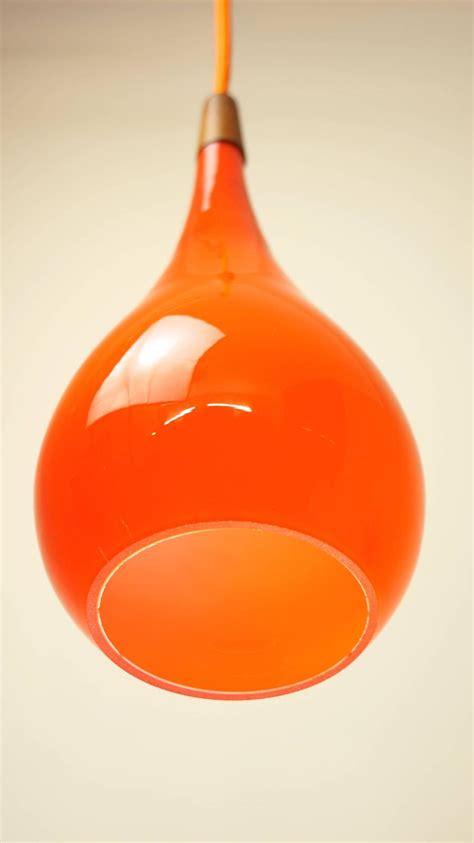 Orange Glass Pendant Light Vintage 1960s Orange Glass And Teak Pendant Light L By Holmegaard At 1stdibs
