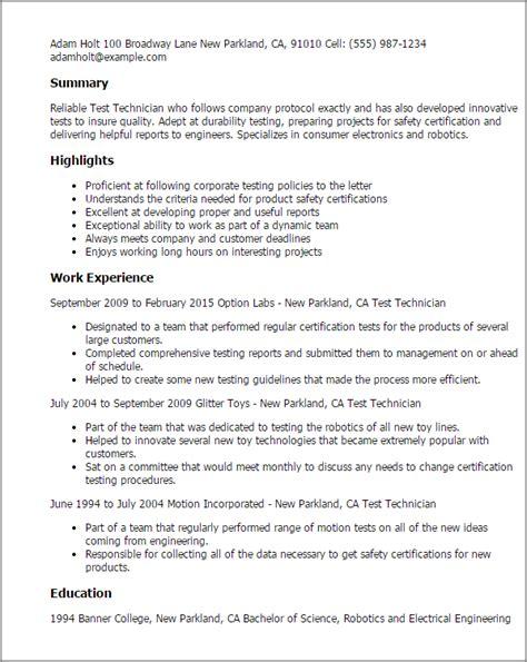 Telecommunications Service Technician Sle Resume by Test Technician Resume Sales Technician 28 Images Laboratory Technician Resume Sle Creative