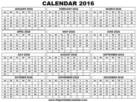 printable calendar 2016 single page 2016 2017 calendar printable one page 12 month printable