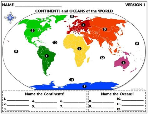 worksheet continents  oceans   world continents