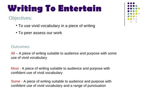 how to entertain writing to entertain