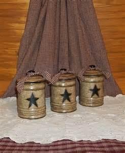 Primitive Kitchen Canister Sets primitive canister set ceramic crackle black star