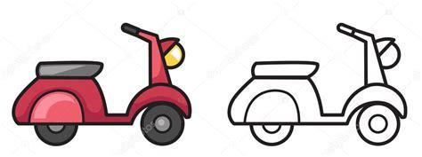 barevne  cernobile motorka pro omalovanky stock vektor