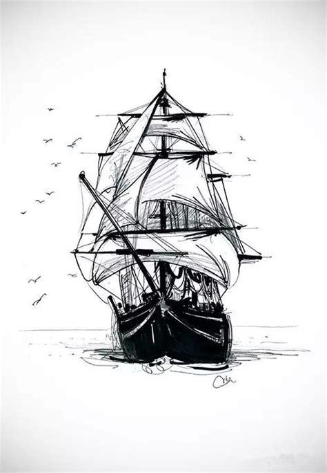 大气的帆船纹身手稿第2页