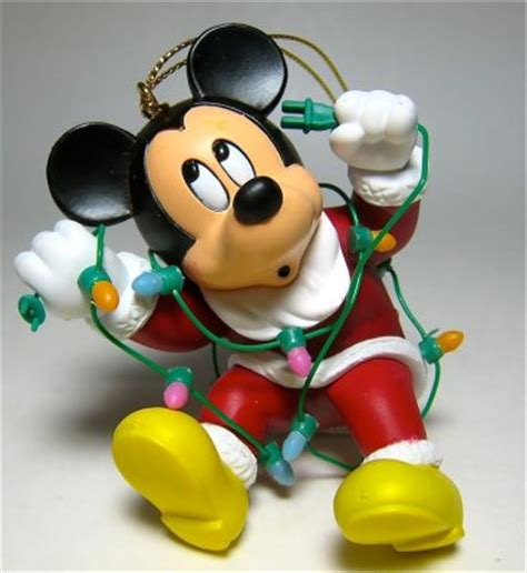 santa mickey mouse tangled in christmas lights ornament