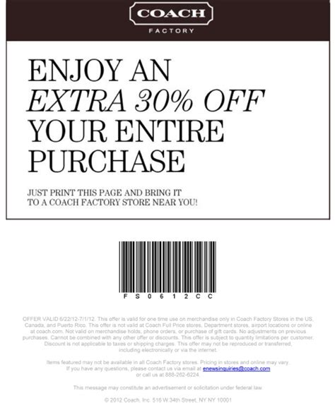 printable coupons for coach outlet coach factory printable coupon expires july 1 2012
