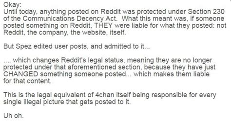 section 230 communications decency act alert reddit can no longer legally be protected under