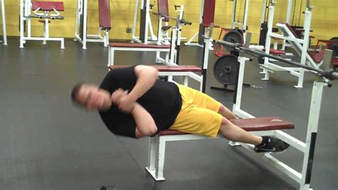 side bench exercise off bench side crunch mp4 youtube