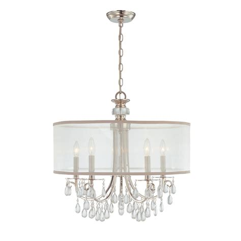 chandelier drum shades hton 5 light 24 quot polished chrome chandelier with silver drum shade thelightingoutlet