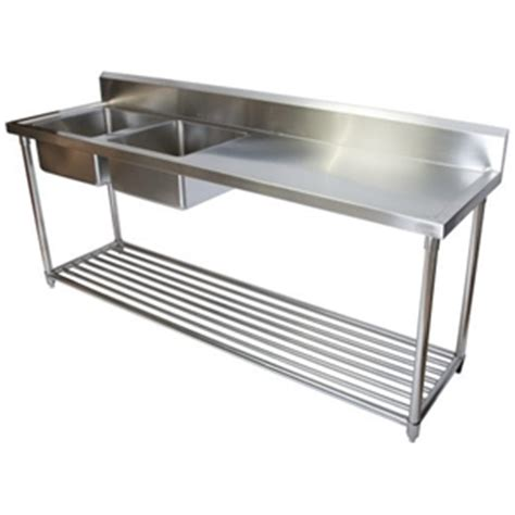 stainless steel bench with sink stainless steel commercial double sink bench kitchen auction 0002 2054084