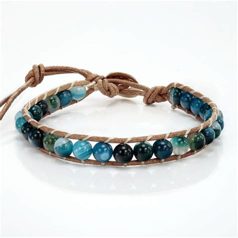 Handmade Bead Bracelet - handmade blue agate beaded bracelet on brown leather