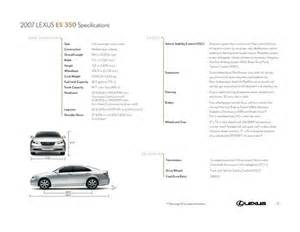 Lexus Es 350 Dimensions 2007 Lexus Es 350 Specifications By Lexus U S A