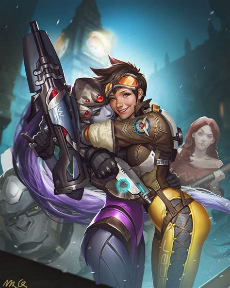 emily tracer widowmaker and winston overwatch drawn