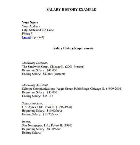 Company Resume Examples by Salary History Template 6 Download Free Documents In