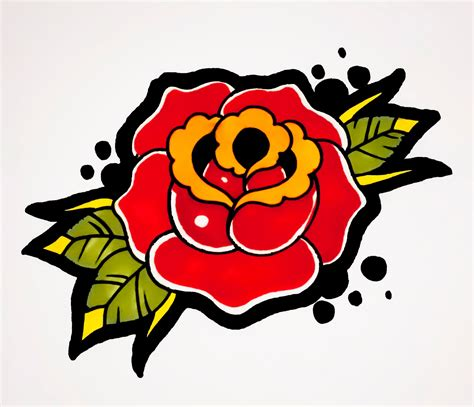 old style rose tattoo school traditional