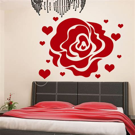 heart wall stickers for bedrooms rose wall decals flower heart love decal living room home