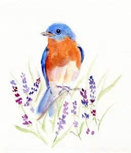 Pretty Room Colors eastern bluebird watercolor original