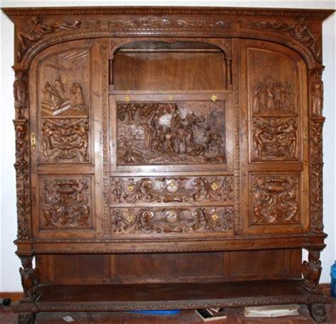 conjunto de mesa de despacho madera tallada restauracion