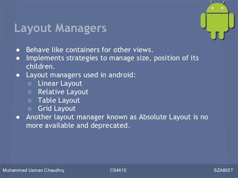 layout manager android developing applications for android lecture 4