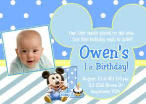 baby mickey 1st birthday invitation baby mickey mouse