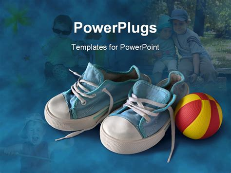 free baby powerpoint templates children blue sneakers with and yellow rubber on